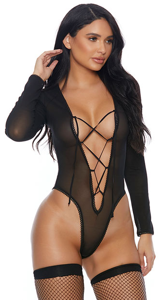 5d4ca0cda ALLURING LACE-UP BODYSUIT - Yandy.com