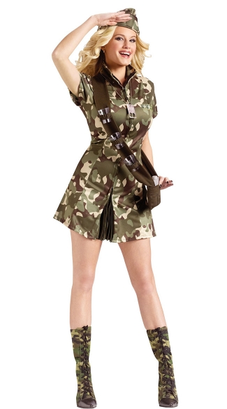 Major Lee Tanked Costume, Army Major Costume, Womens Camouflage Costume