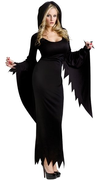 Dark Night Hooded Gown Adult Costume, Women\'s Grim Reaper Costume, Vampire Halloween Costume