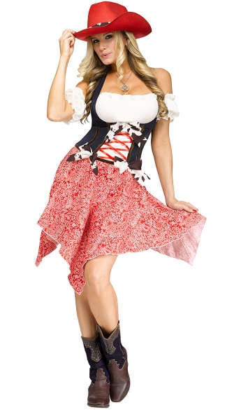 Hoedown Honey Cowgirl Costume, Adult Cowgirl Costume, Cowgirl Halloween Costume With Hat-2747