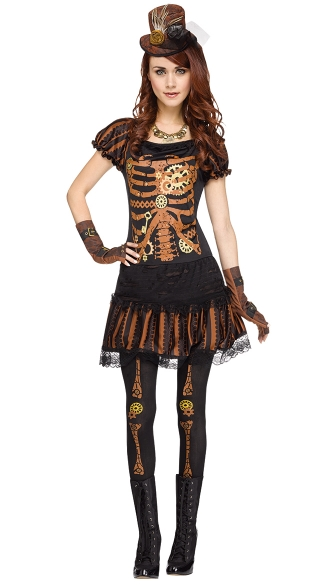 Skeleton Costume, Skelepunk Costume, Steampunk Girl Costume ...