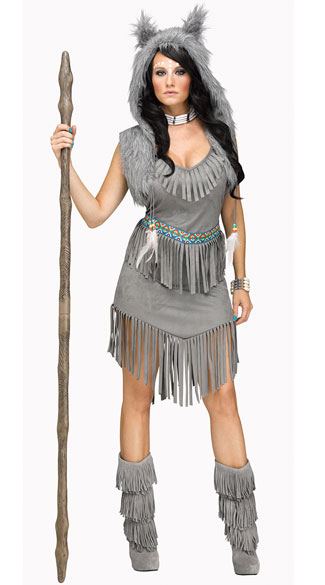Wolf Dancer Costume, Grey Native American Costume, Grey Indian Costume-1723