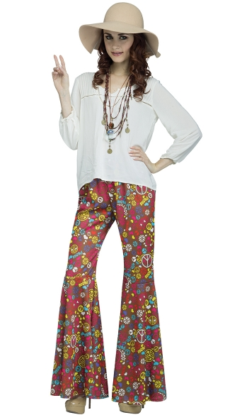 Psychedelic Bell Bottoms, Flower Power Bell Bottoms, Bell Bottom Costume