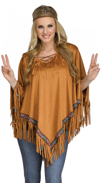 Intricate Fringe Poncho, Brown Hippie Poncho, Fringe Poncho