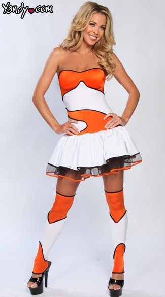 Finding Clownfish Costume, Sexy Fish Costume, Adult Clownish Halloween Costume