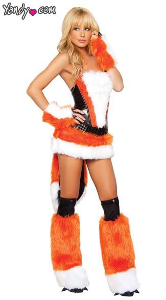 Foxxy Lady Corset, Skirt and Tail - Orange/Black/White