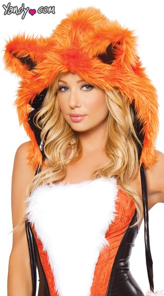 Foxxy Lady Hood - Orange/Black/White