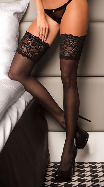 Plus Size Wide Lace Top Thigh Highs - Black