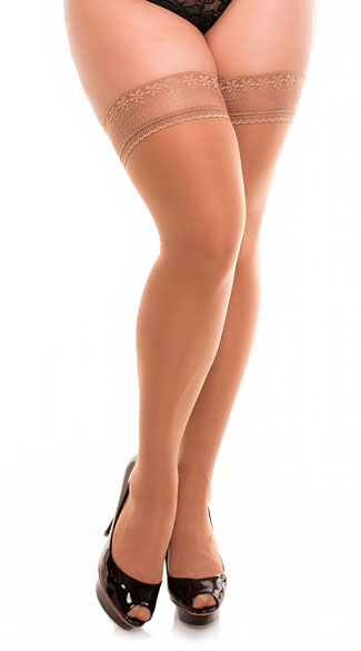 Plus Size Intricate Knit Thigh Highs - Nude