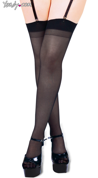 Basic Plus Size Thigh High Stockings - Black