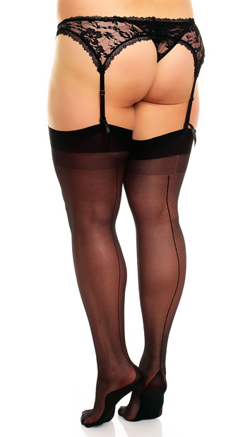 Plus Size Seamed Thigh Highs - Black