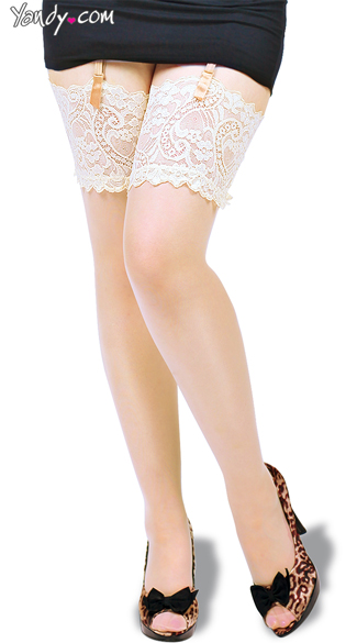 Plus Size Sheer Stockings with Paisley Lace - Champagne