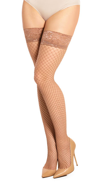 Plus Size Lace Top Fishnet Stockings - Make Up