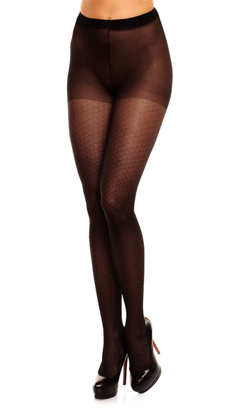 Plus Size Black Diamond Pantyhose  - Black