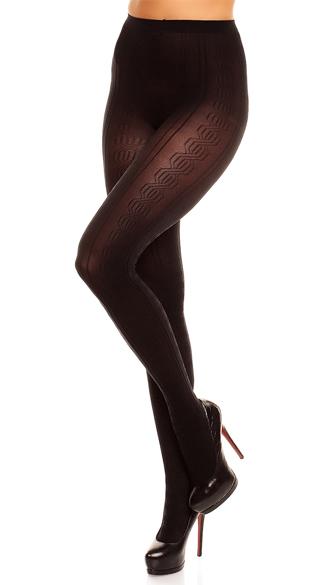Plus Size Marea Pattered Pantyhose  - Black