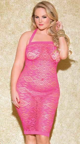 Plus Size Fun Games Hot Pink Chemise, Plus Size Pink Lace Chemise, Stretch Lace Chemise