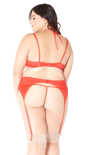Plus Size Fired Up Bra Set - Red
