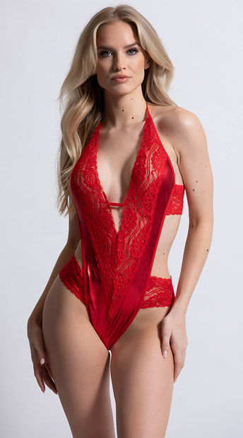Red Metallic and Lace Halter Teddy - Red