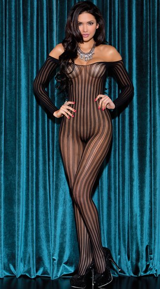 Long Sleeve Striped Bodystocking, Striped Bodystocking, Off the Shoulder Bodystocking
