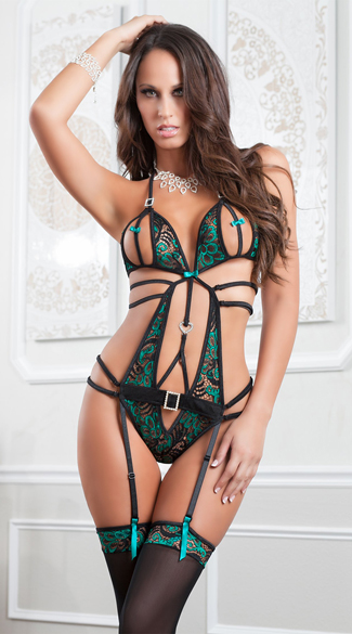 Astonishing Emerald Teddy and Stockings - Emerald