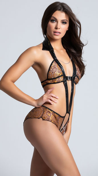 Sexy Vinyl and Lace Teddy - Gold