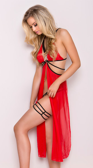 Strappy Mesh Flyaway Gown Set - Red