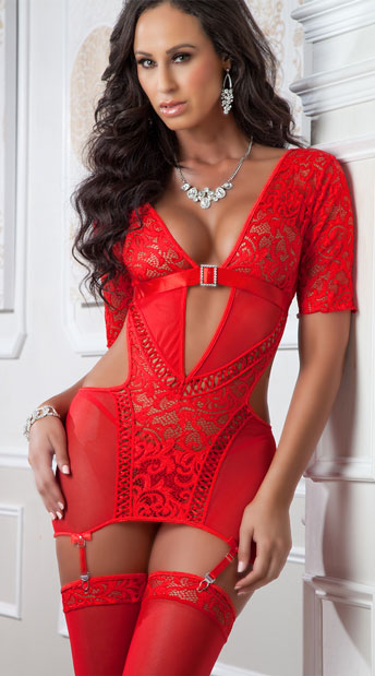 Lace Look At Me Chemise Set - Red Desire
