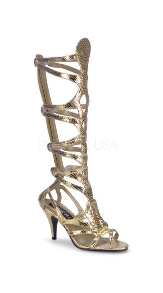 Venus Lace Up Sandals - Gold Met Snake Pu