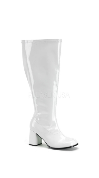 Stretch Wide GoGo Boots - White