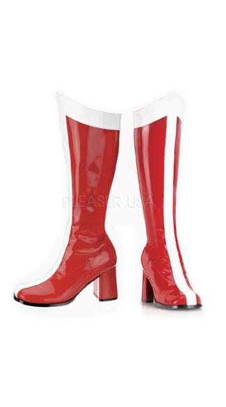 Super Stripe GoGo Boots - Red-white Str Pat