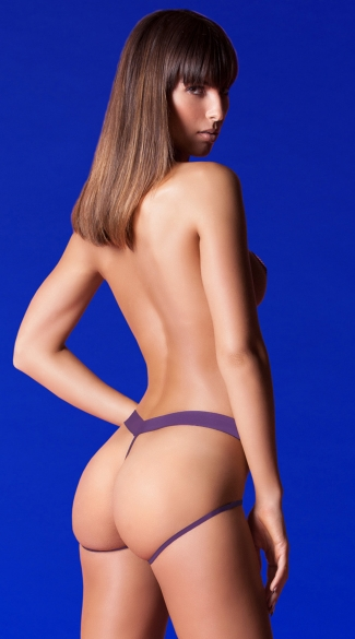 Barely There Open Panel Panty - Purple