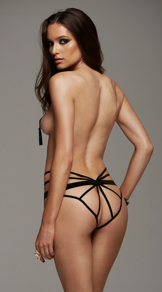 Butterfly Straps Open Crotch Panty - as shown