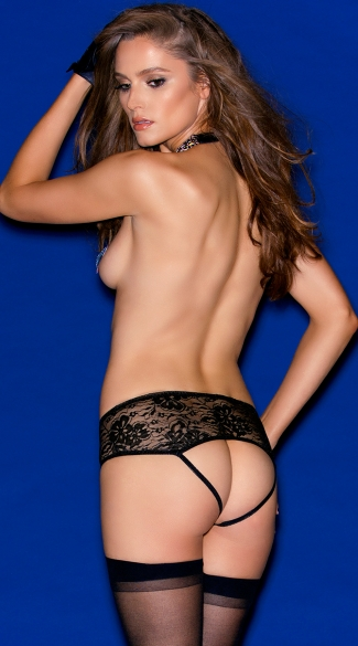 Crotchless Pleather and Lace Tanga - Black