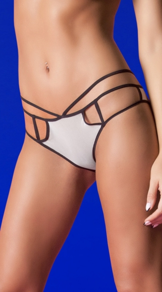Ring True Strappy Open-Back Panty - White/Black