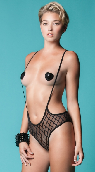 Seductress Diamond Mesh Teddy, Open Cup Fishnet Onesies, Black Suspender Bodysuits