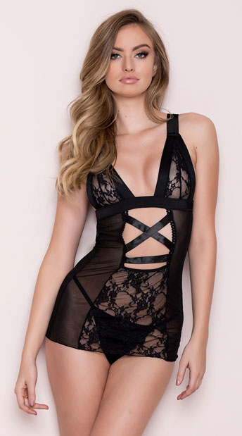 Cross Center Band Chemise Set, Mesh and Lace Chemise - Yandy.com