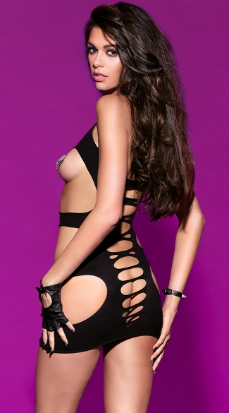 Halter Chemise With Cut Out Detail - Black