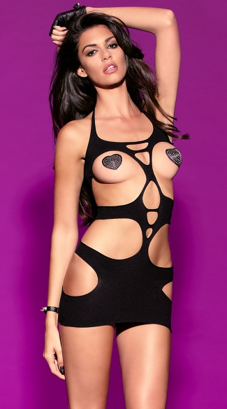 Halter Chemise With Cut Out Detail, Sexy Cut Out Dresses, Little Black Dress
