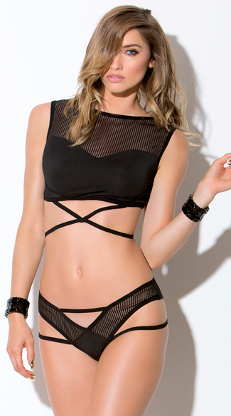 Striped Mesh Crop Top and Panty Set, Black Strappy Crop Top Set, Black Crop Top Set