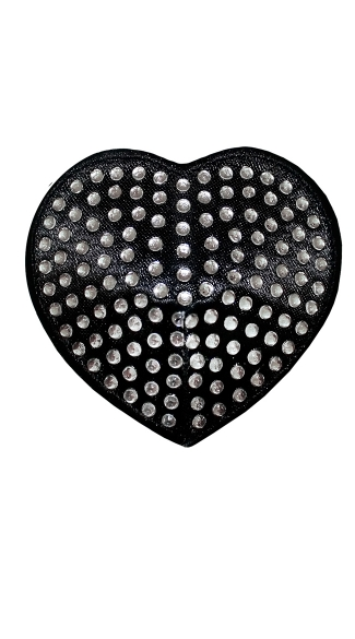 Black Heart Rhinestone Pasties, Boob Pasties, Breast Petals