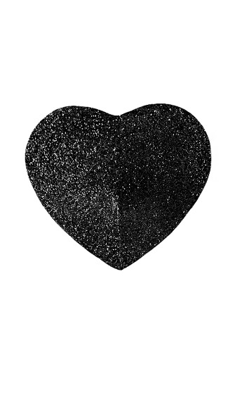 Black Heart Glitter Pasties - Black