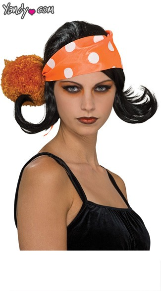 Harajuku Wig with Bandanna - Black/Orange