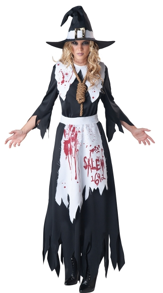Bloodstained Salem Witch Costume - Black/White