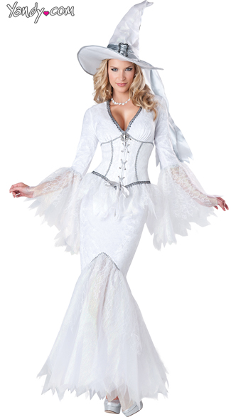 White Magic Witch Costume, Sexy Witch Costume, White Witch Costume