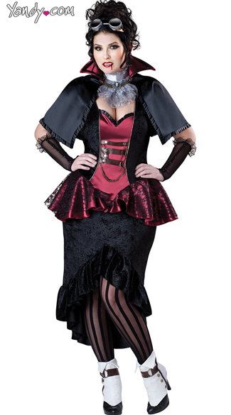 Plus Size Steampunk Vampiress Costume, Steampunk Vampire Costume, Steampunk Costume