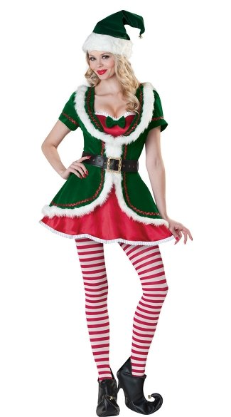 Deluxe Holiday Honey Costume, Deluxe Christmas Elf Costume, Deluxe Elf Costume, Green Christmas Elf Outfit