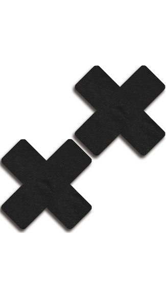 Black Faux Leather Cross Pasties, Black X Pasties