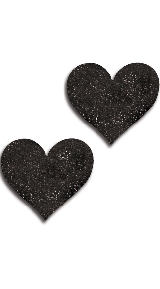 Black Glitter Heart Pasties, Black Heart Pasties