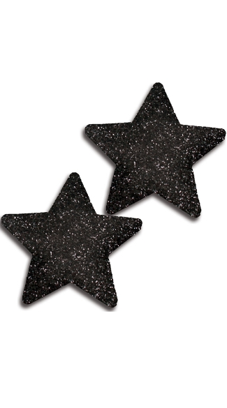 Black Glitter Star Pasties, Black Star Pasties