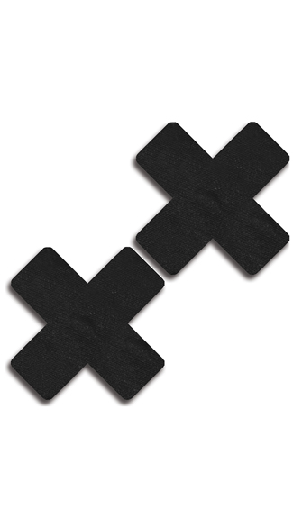 Satin Black Cross Pasties - Black